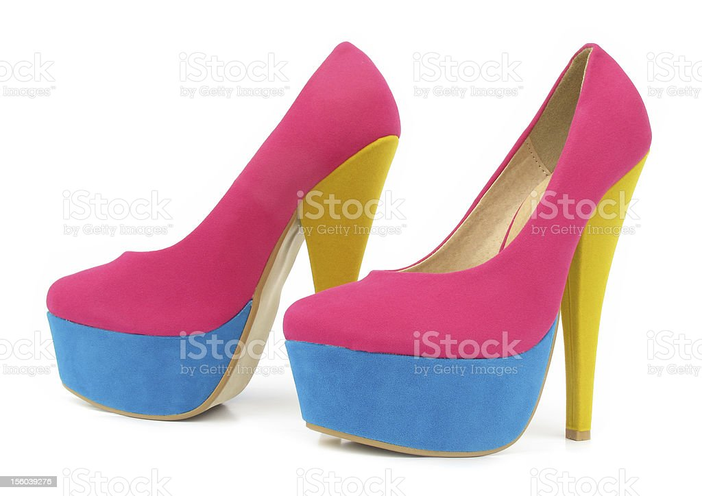 a1147718dc5 Pink Blue And Yellow Colorful High Heels Pump Shoes Stock Photo ...