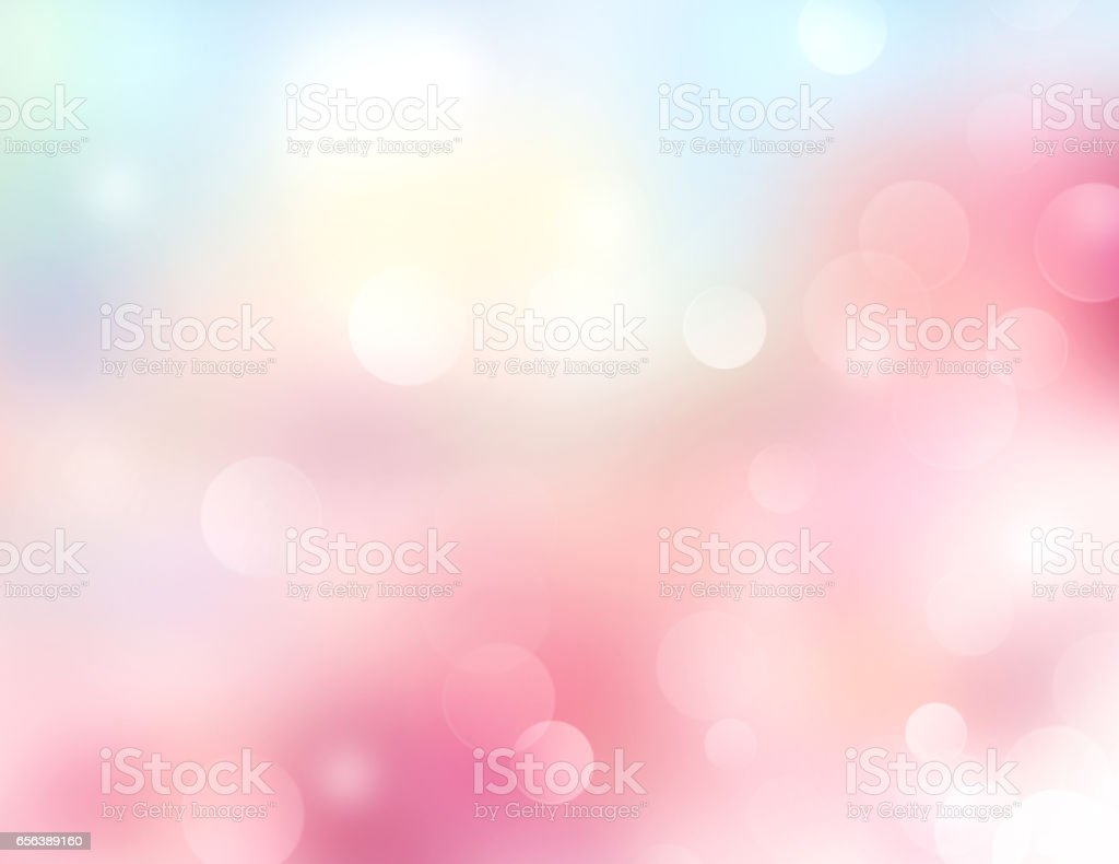 Pink blue blur bokeh spring fresh romantic background. stock photo