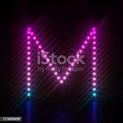 istock Pink blue dot light font Letter M 3D 1216039287