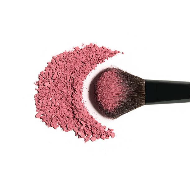 Pink Blush Brush Brush covered in crushed pink blush blusher make up stock pictures, royalty-free photos & images