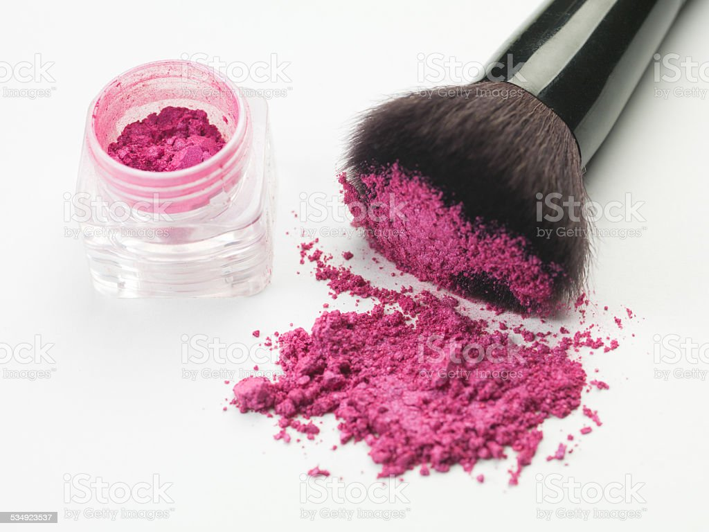 pink blush brush stock photo