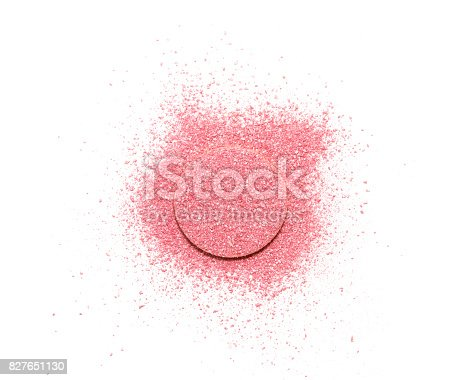 istock Pink blush scattered on a sponge, isolated on a white background. 827651130
