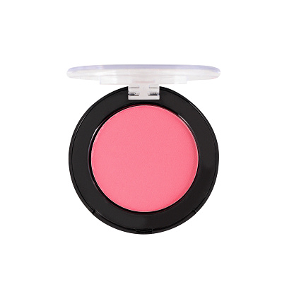 Pink blusher make-up in round open container, white background, clipping path