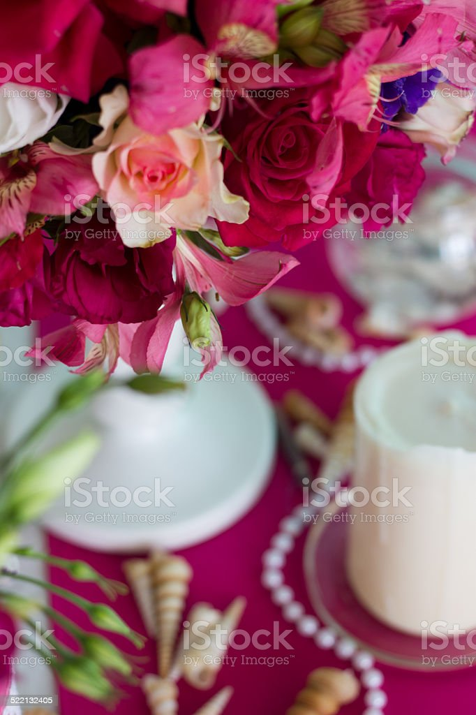 pink bouquet with seashells stock photo