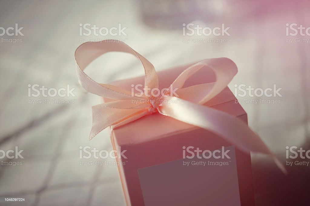 Pink Bow Homemade Gift Box At A Wedding Table Decor Stock Photo