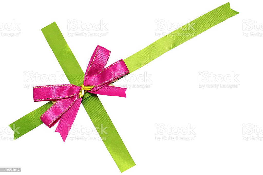 pink bow on green ribbon royalty-free stock photo