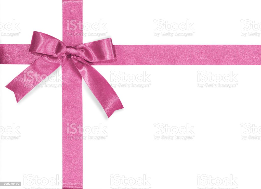 Pink Bow Satin Ribbon Isolated On White Background With Clipping
