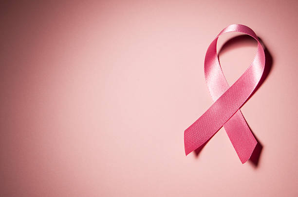 pink breast cancer awareness ribbon with copy space - breast cancer awareness 個照片及圖片檔