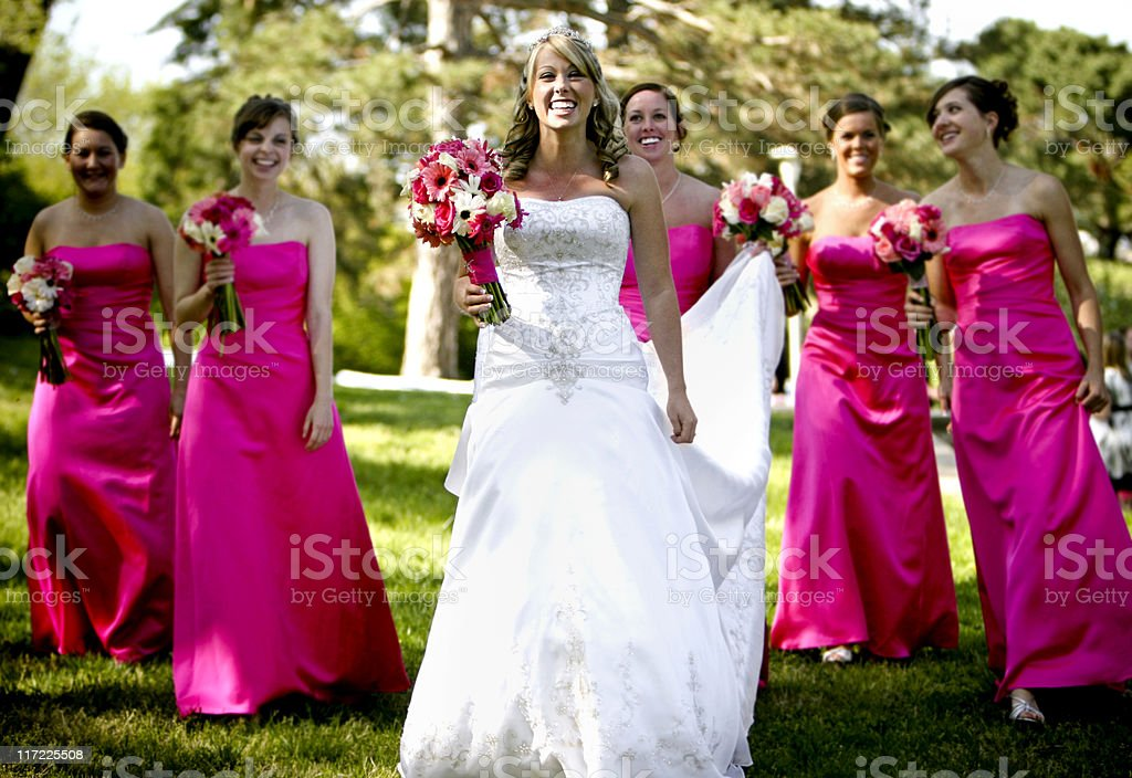 Pink Bride and Bridesmaids Happy Wedding Walking stock photo