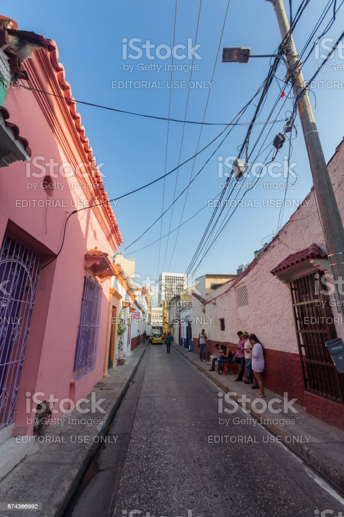 Pink Buildings and People in Cartagena stock photo