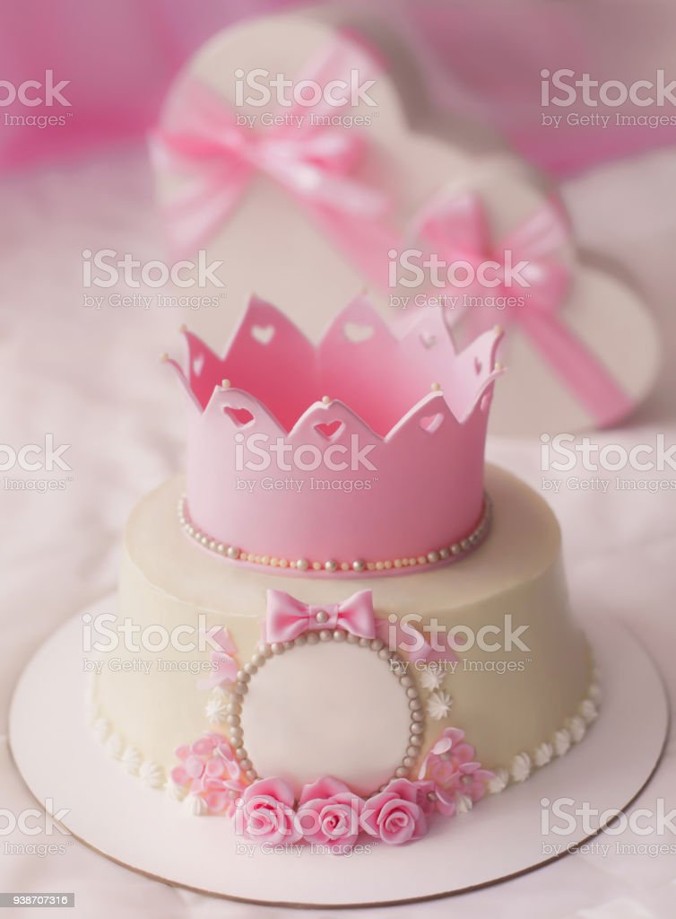 Pink Cake With Crown And Gifts In Heart Box For Pretty Girl Birthday Party Royalty