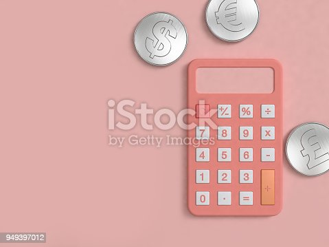 istock pink calculator and three silver coin on pink floor minimal 3d rendering 949397012