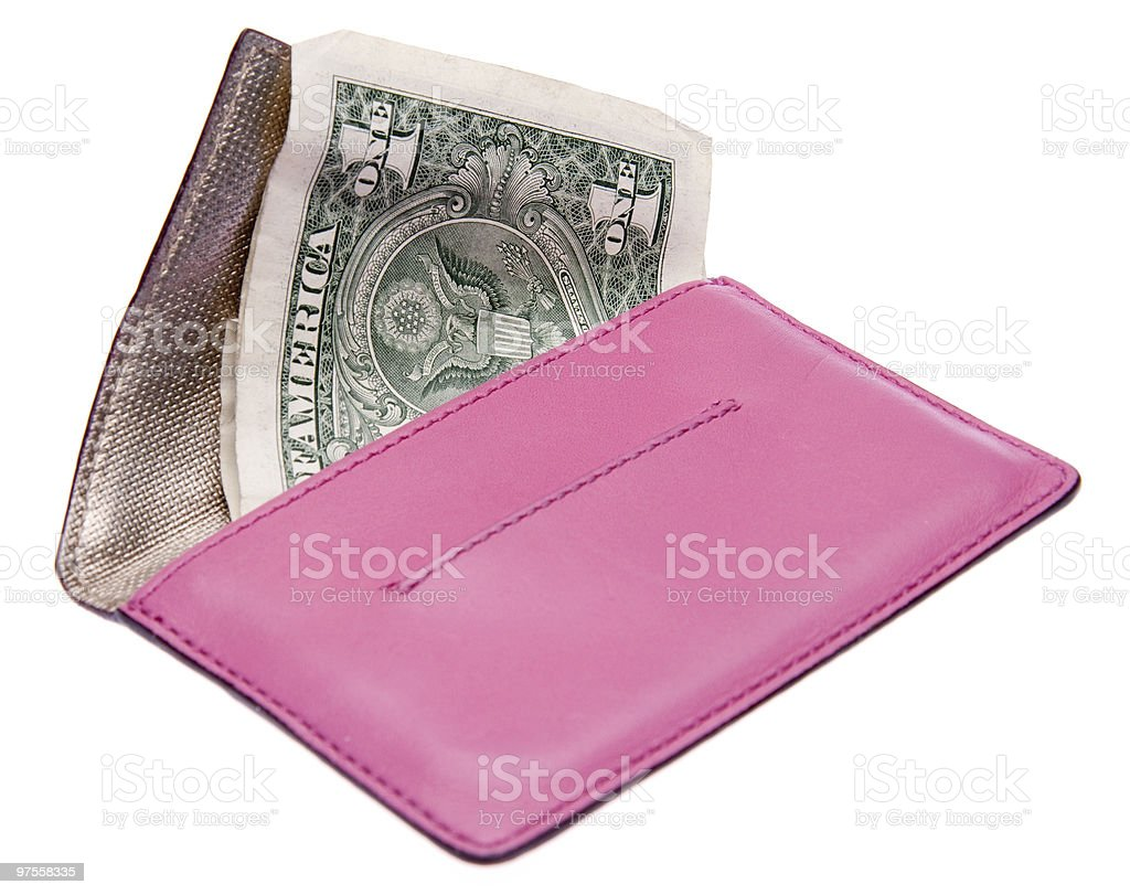 Pink Caluclator with Money Filled Wallet royalty-free stock photo