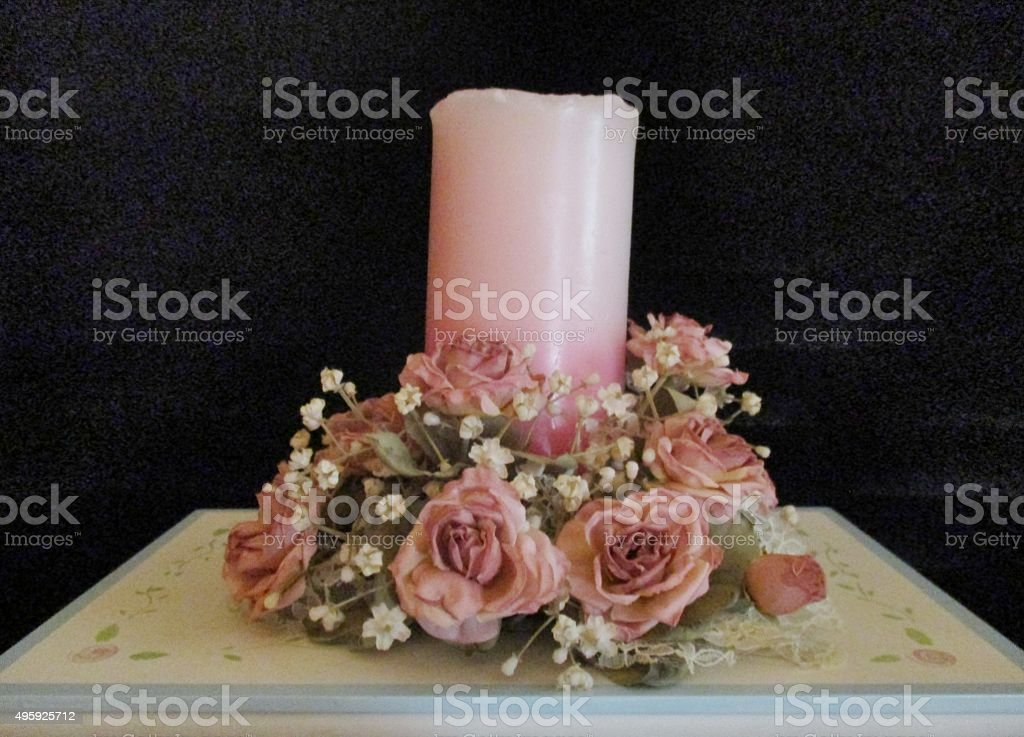 Pink Candle with Pink Roses and Baby's Breath stock photo