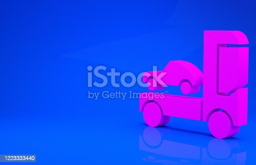 1087080996 istock photo Pink Car transporter truck for transportation of car icon isolated on blue background. Minimalism concept. 3d illustration 3D render 1223333440
