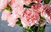 ガラスの花瓶にピンクのカーネーションの花