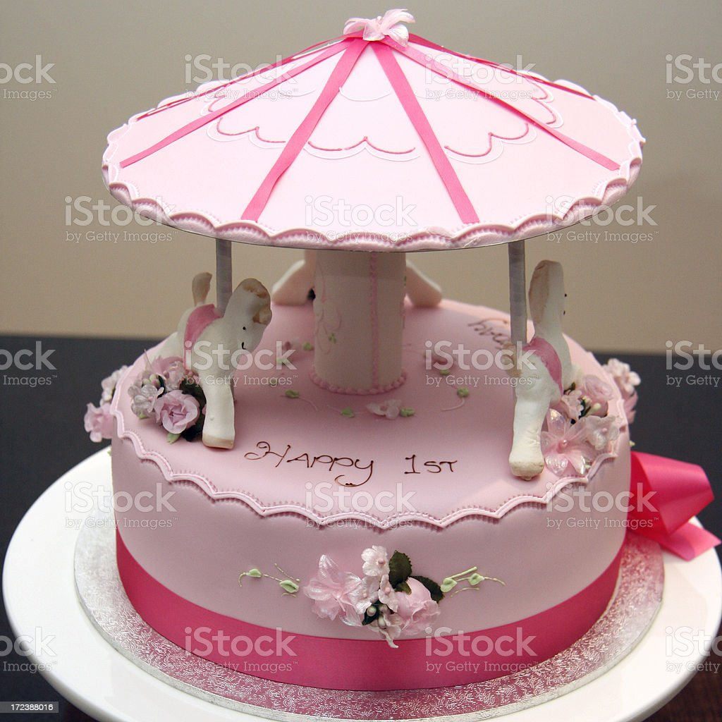 Pink Carousel Birthday Cake Stock Photo More Pictures Of Beauty In