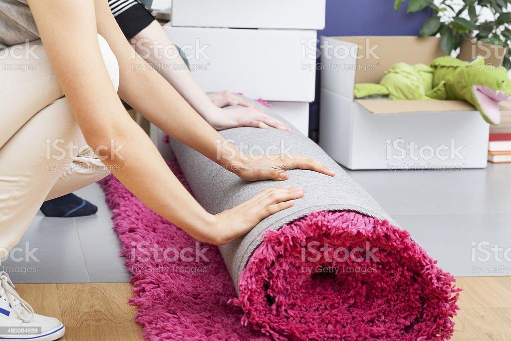 Pink carpet rolling stock photo
