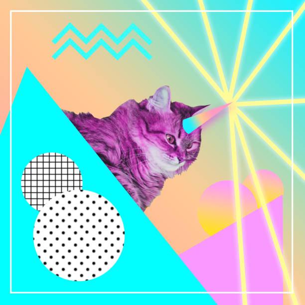 gato rosa de disparos láser de cuerno de unicornio arco iris - cat vaporwave fotografías e imágenes de stock