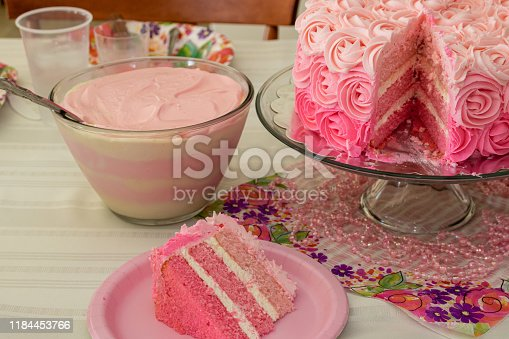 Pink ombre birthday cake with pink striped pudding dessert.