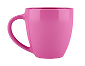 pink ceramic cup isolated on white background