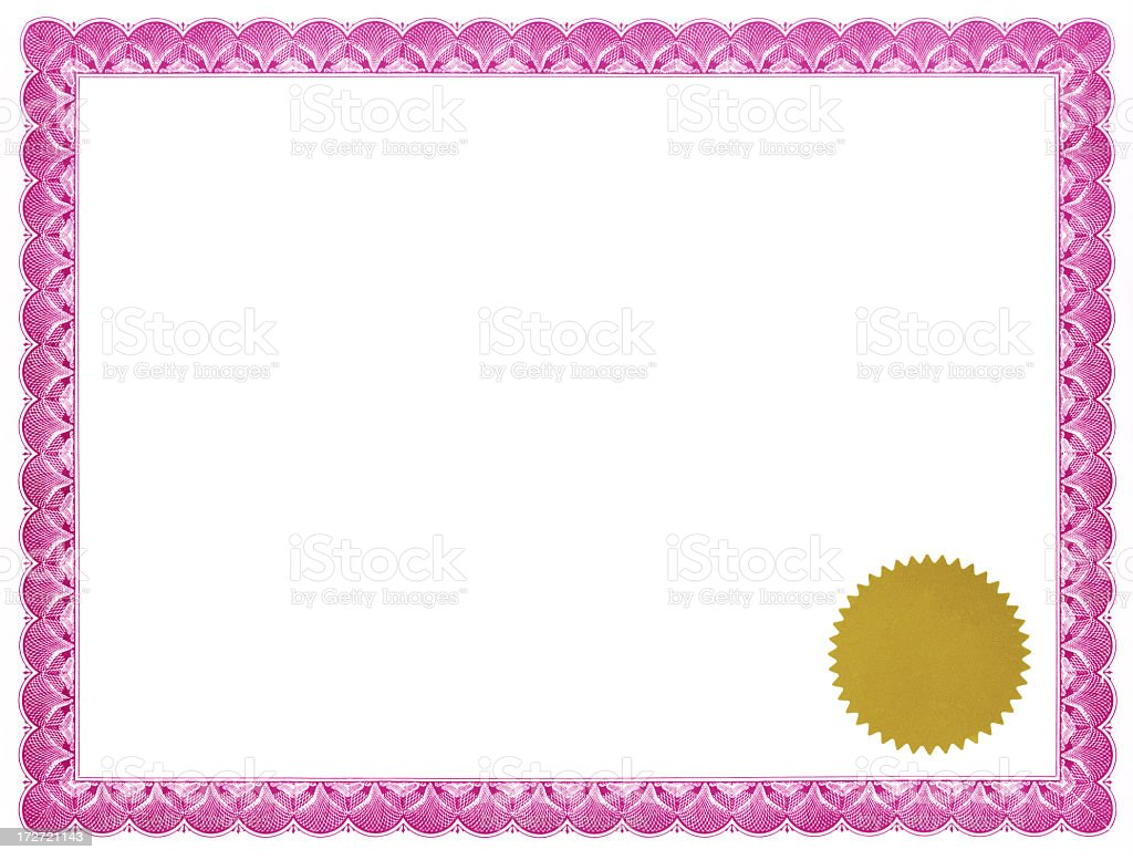 Pink certificate with gold seal stock photo