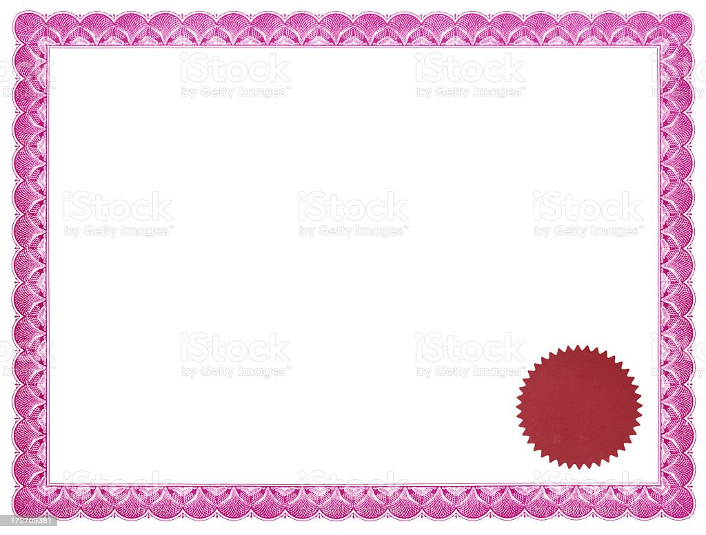 Pink certificate with red seal royalty-free stock photo