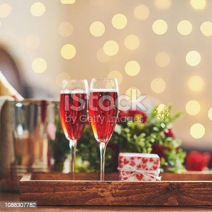 Pink champagne and gift for Valentine's Day