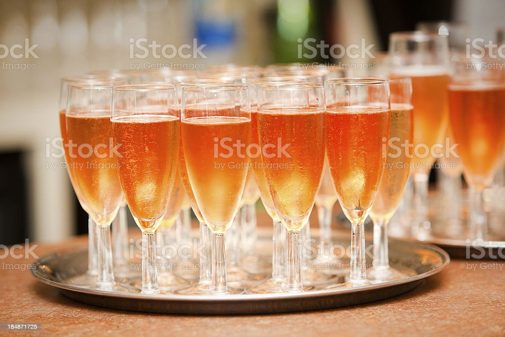 Pink Champagne on silver tray stock photo
