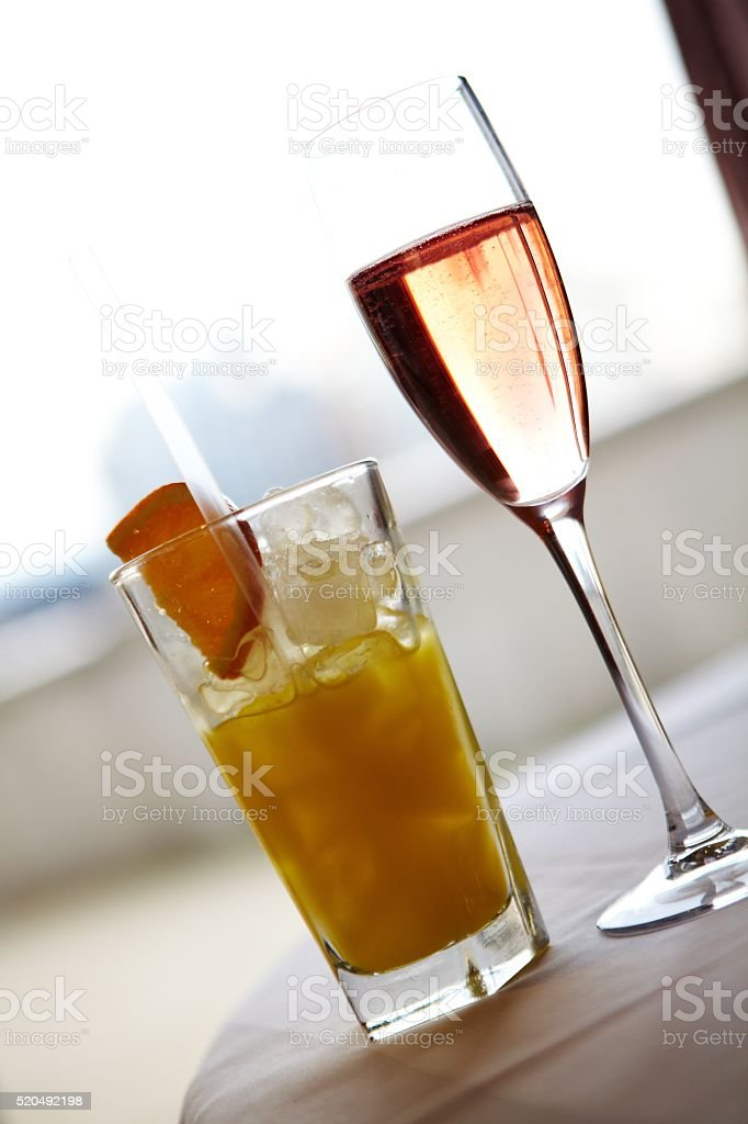Pink Champagne & Orange Juice stock photo