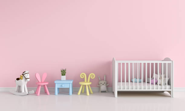 rosa kind innenraum für mockup, 3d rendering - pferde schlafzimmer stock-fotos und bilder