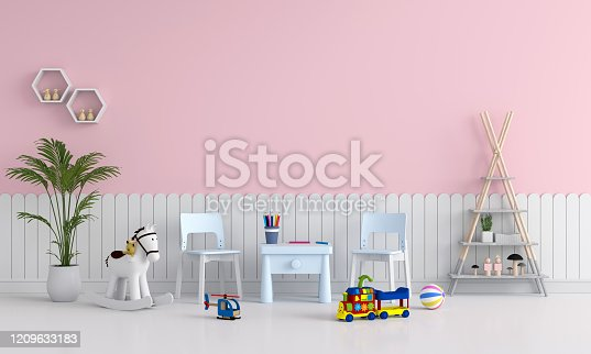 1213866189 istock photo Pink child room interior for mockup, 3D rendering 1209633183