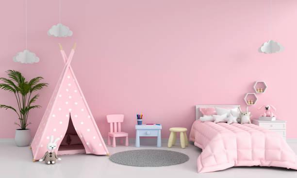 rosa kinderzimmer innen für mockup, 3d-rendering - tipi bett stock-fotos und bilder