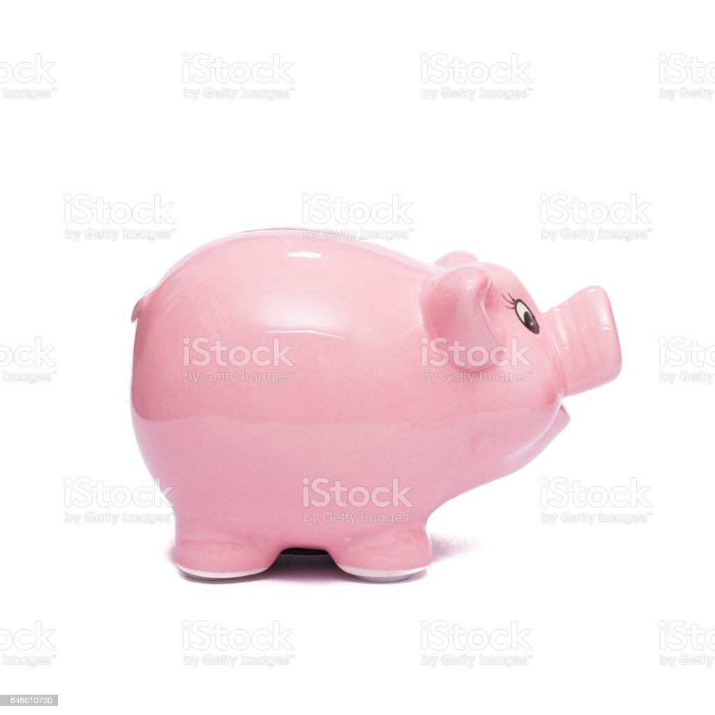 Pink china piggy bank stock photo