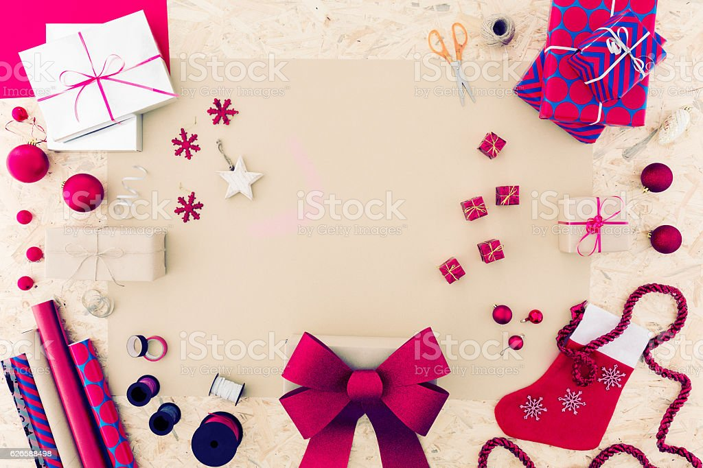 Pink christmas accessories stock photo