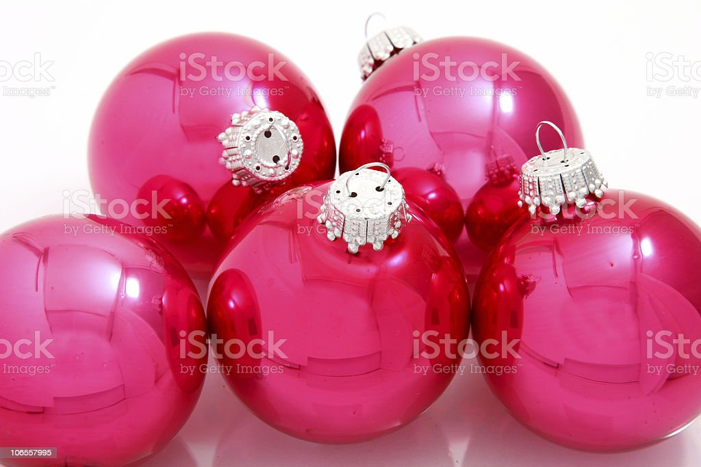 Pink Christmas Bulbs/Balls royalty-free stock photo