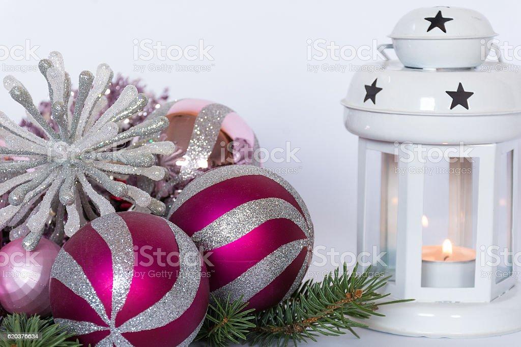 Pink christmas  decoration with christmas lantern zbiór zdjęć royalty-free