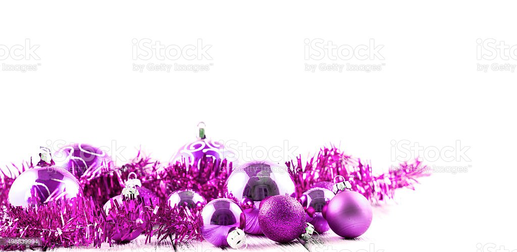 pink christmas tree balls and decorations isolated on white background royalty free stock photo