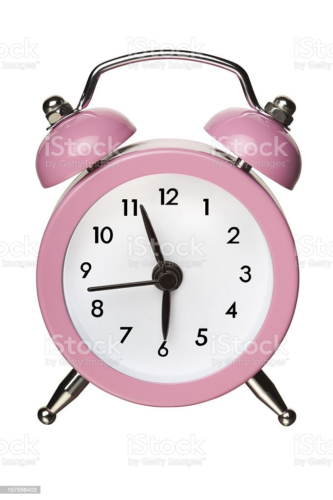 Pink Classic Bell Alarm Clock on White With Clipping Path royalty-free stock photo