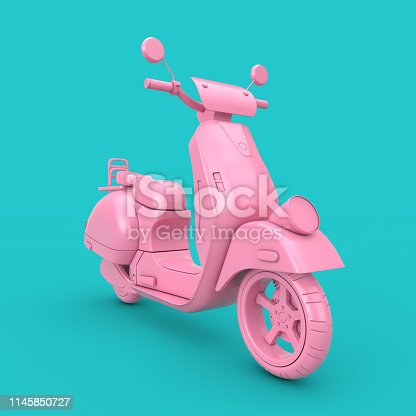 Pink Classic Vintage Retro or Electric Scooter Duotone on a blue background 3d Rendering