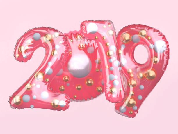 klar glänzend rosa ballon anzahl 2019 schwimmenden 3d-rendering - 3d typografie stock-fotos und bilder