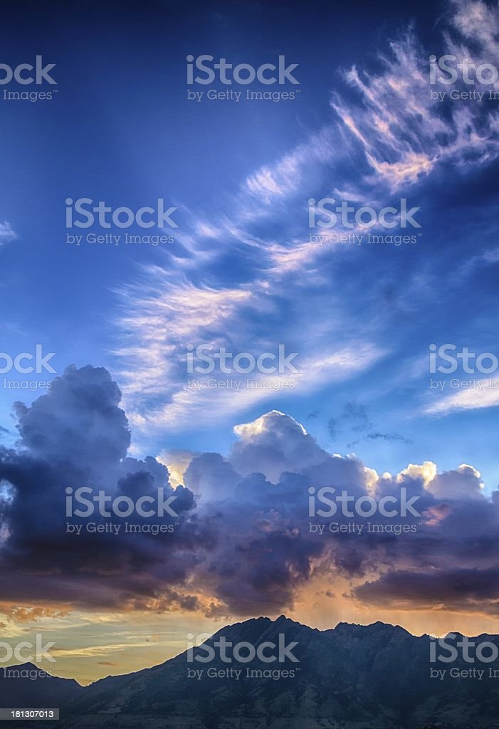 Pink Cloud Tails Over Mount Olympus stock photo