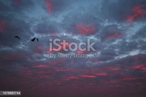 istock pink clouds and sky for background Abstract,postcard nature art pastel style,soft and blur focus. 1075932744