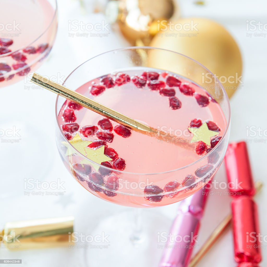 Pink cocktail for christmas stock photo