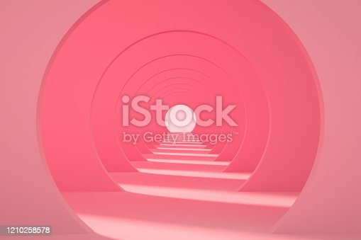 3d rendering of pink color empty circle shape tunnel, corridor. Sunlight and shadow.