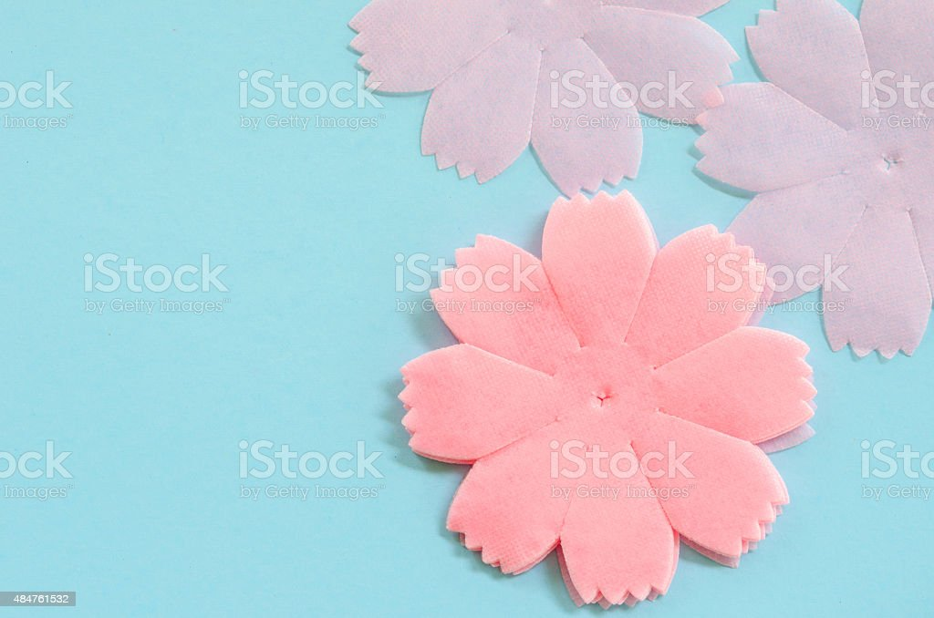 Pink color paper flowers stock photo