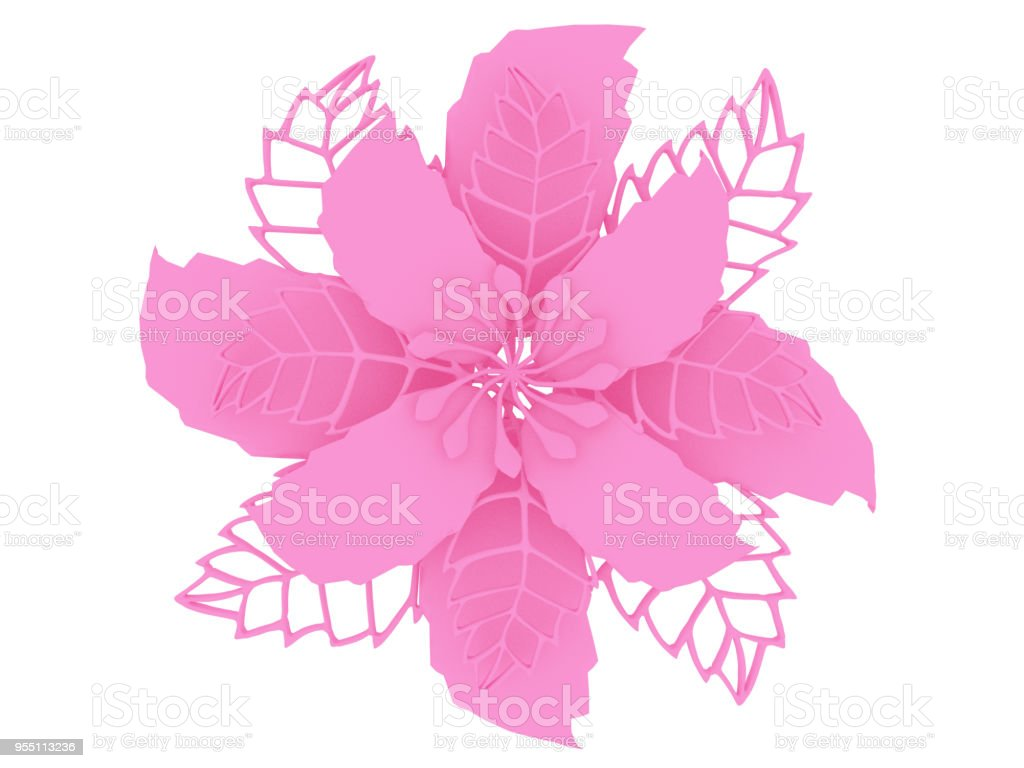 Pink colored material 3D illustration flower rendering stock photo