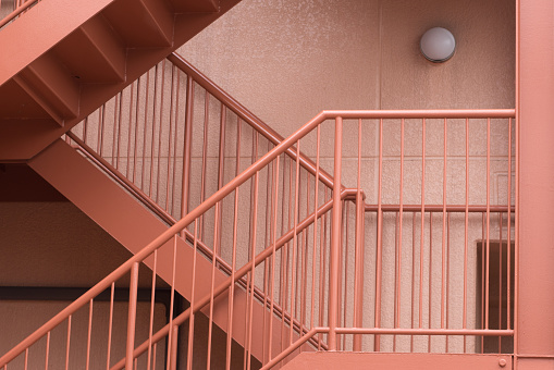 Pink colored stairway