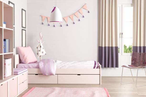 rosa farbigen jugendlich schlafzimmer - hellrosa zimmer stock-fotos und bilder
