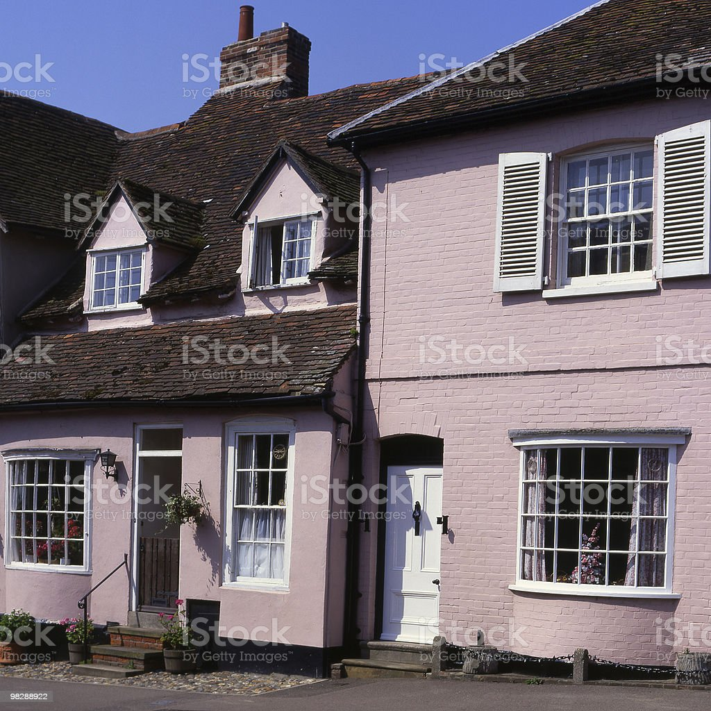 Pink Cottages at Lavenham in Suffolk. England royalty-free stock photo